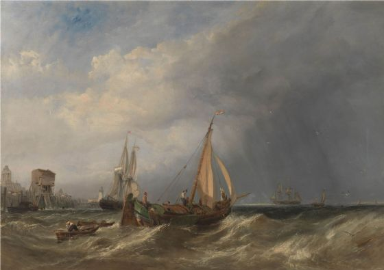 Stanfield, (William) Clarkson Frederick: A Dutch Barge and Merchantmen Running out of Rotterdam. Fine Art Print/Poster. Sizes: A4/A3/A2/A1 (003475)